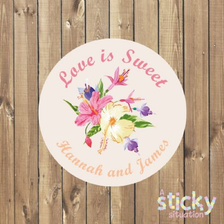 Personalised 'Love is Sweet' Stickers - Tropical Flowers Design